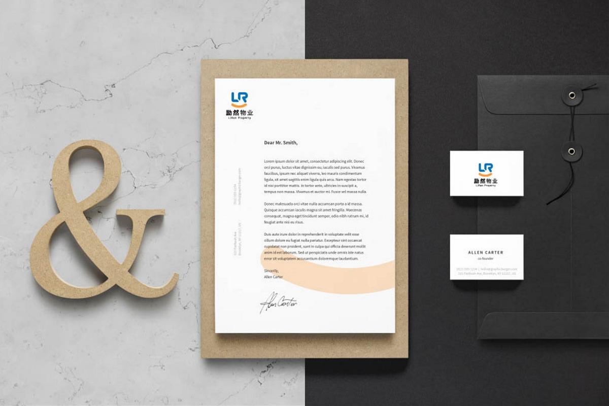 约稿信_地产商业物业服务品牌LOGO标志设计VI形象LR微笑简创设计一日一标 ...