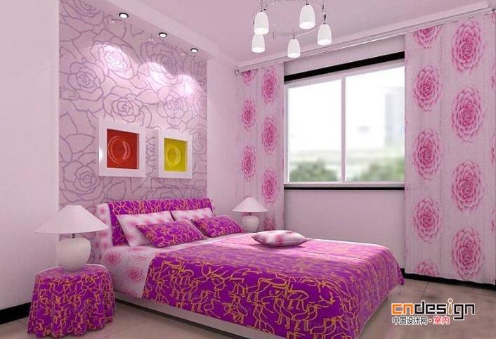 欧式紫粉色系卧室