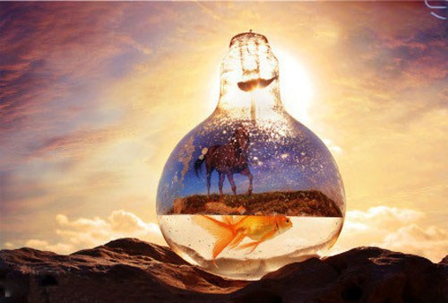灯泡为主体的创意摄影作品