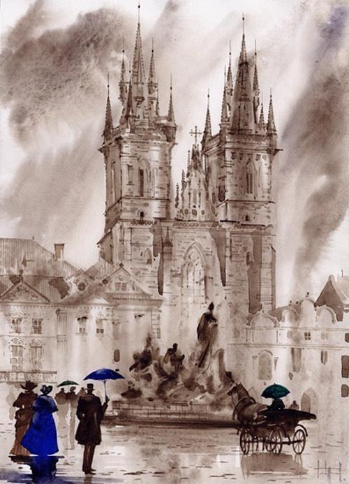 水墨欧洲画很出彩的绘画作品