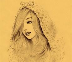 唯美写真清纯素描女孩儿插画设计欣赏