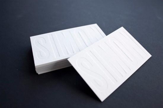 国外白色凸版名片