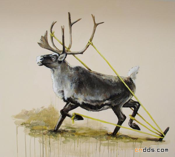 被束缚的动物油画系列作品