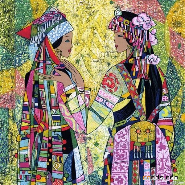 优雅的少数民族绘画系列