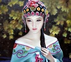 如清风拂面 朝鲜美女人物油画