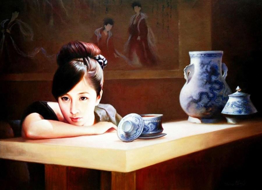 如清风拂面 朝鲜美女人物油画图片