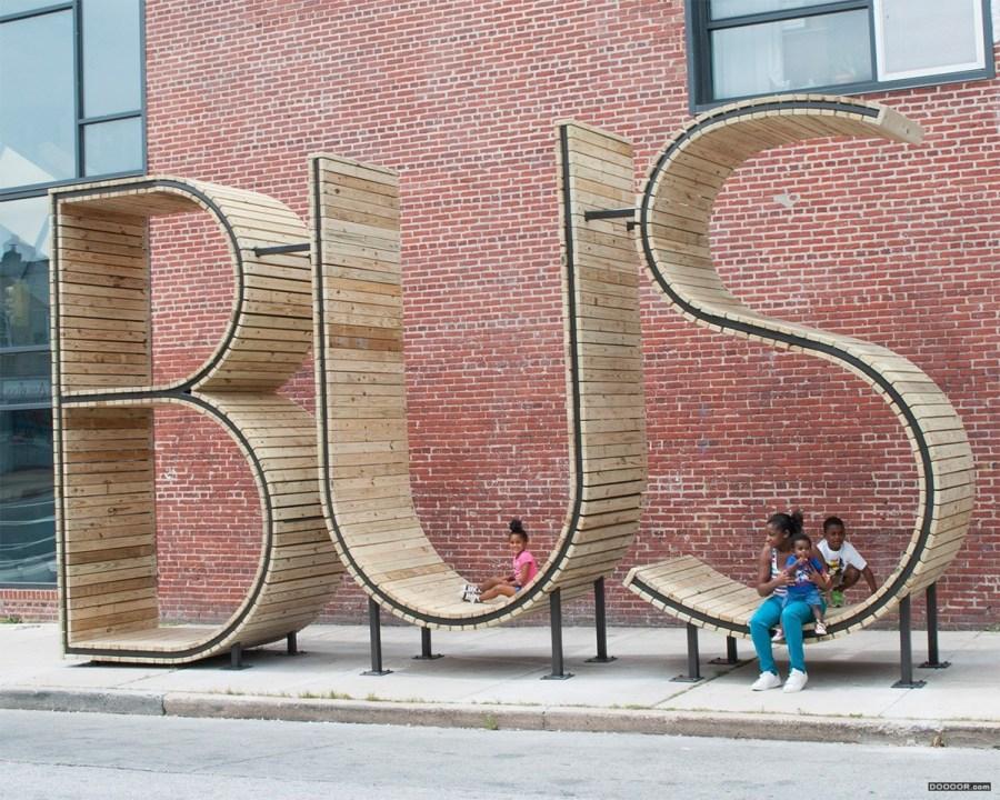 巴尔公交车站台个性字母座椅设计
