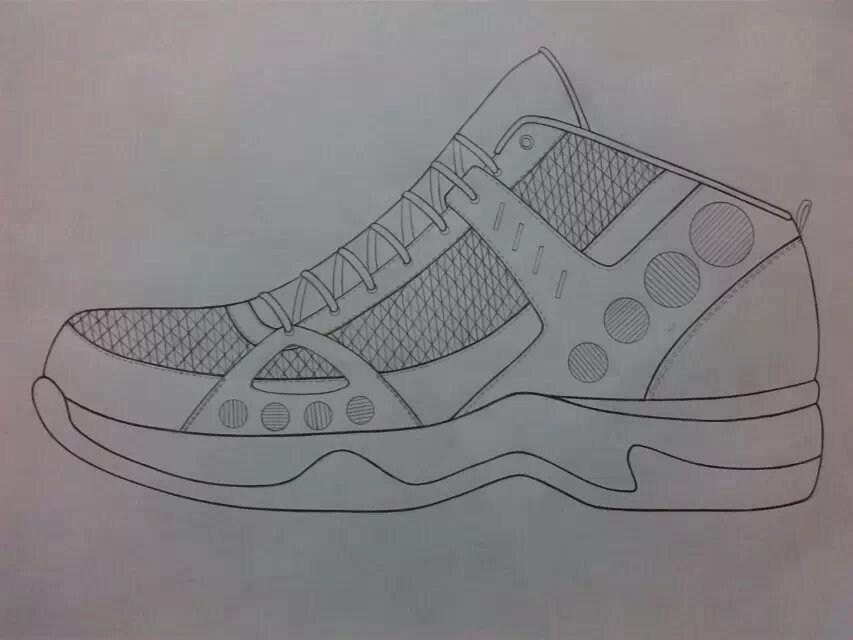 铅笔手绘篮球鞋设计