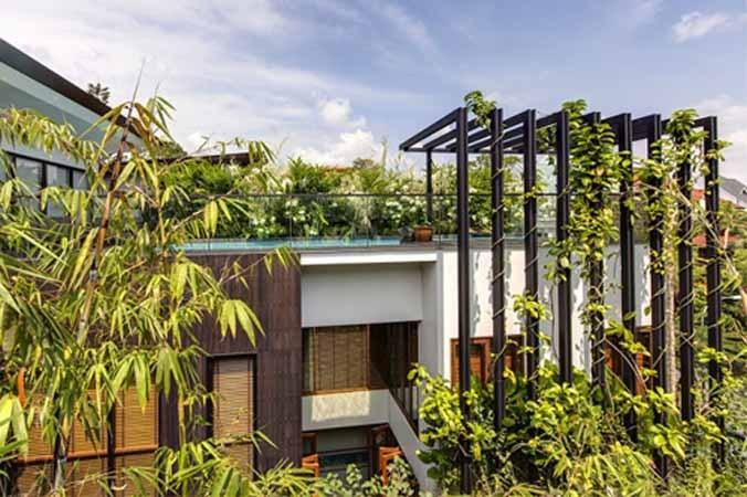 垂直花园,具有保护和美化环境的作用,成为世界建筑界的潮流。21世纪初,世界各地越来越重视垂直花园的建设,垂直花园不仅为城市建筑装饰设计带来新元素,而且让更多的绿色代替钢筋混凝土和砖石围墙,使城市充满生机和活力。{}  这个住宅用了非常天然的木材、大理石、花岗岩,与苍翠繁茂的垂直花园相辅相成。另外,设计师对住宅的花园和绿化一直很重视,在垂直的木棚架上种上了很多攀援植物,可以一直长到屋顶的游泳池。连住宅的浴室也都面向花园,能看到葱郁的花和蝴蝶飞舞,这是一个真正的垂直别墅花园庭院。