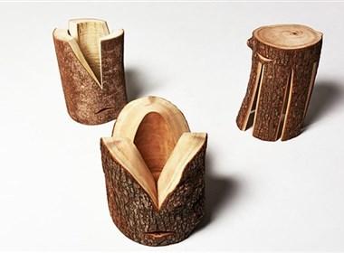 好厉害的原木凳! 自然的剖面与表皮,可坐可桌可当灯!