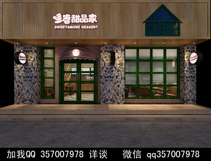 甜品店装修效果图 方柱 中式装修 花基 盘栽 包柱 防火板 实木地板 收