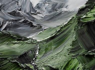 粗犷的山脉油画作品