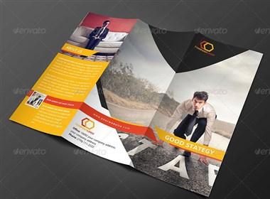 一组平面必备三折页设计-橙色风格