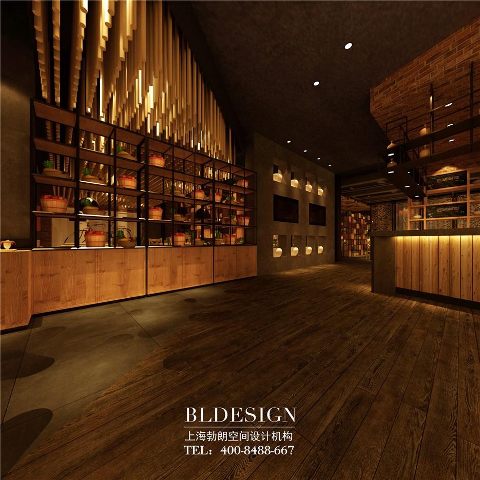 为客人提供一个温馨的用餐空间;多根木条组成的天花吊顶极为壮观,由不