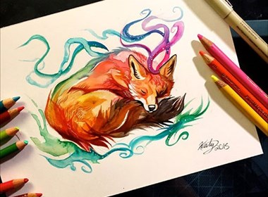 Katy Lipscomb动物彩铅插画作品欣赏