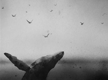 静谧的人与动物黑白水彩插画欣赏