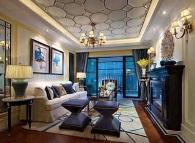 那抹蓝,是空间的华彩|昆明海伦国际样板房设计