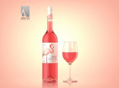 玫瑰火烈鸟葡萄酒