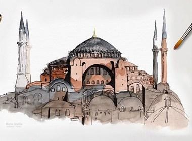 40个世界著名古迹水彩插画欣赏