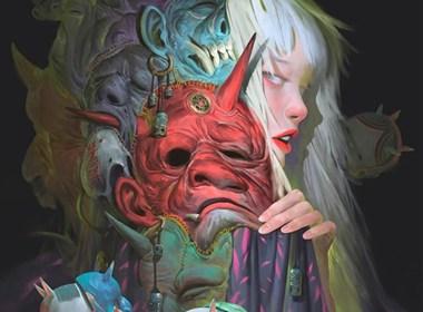 混合亚洲志怪和奇幻文化的超现实数字绘画