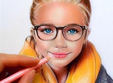 彩色铅笔肖像插画