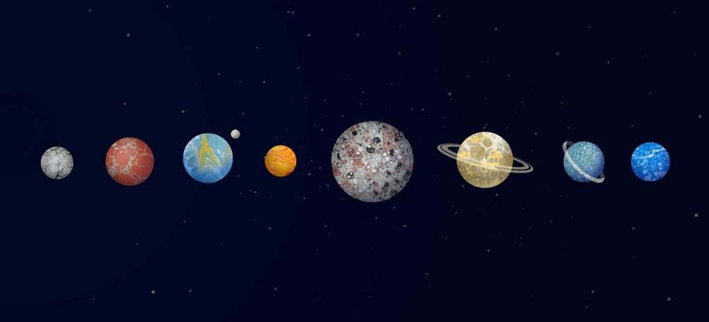 marbling space九大行星