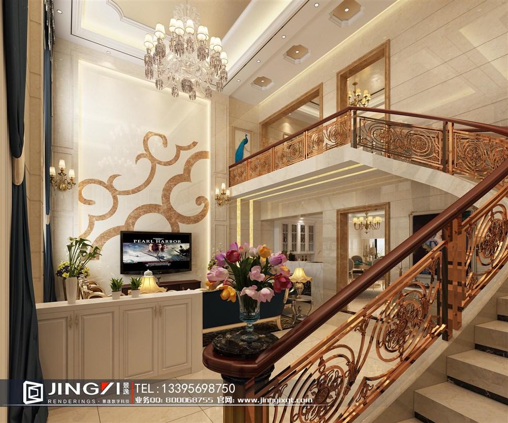 景逸效果图设计—8月家装精美华丽的跃式,挑空设计