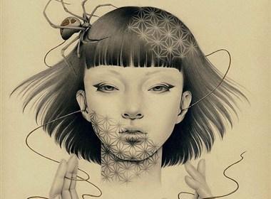 女孩与小鸟的精美铅笔画