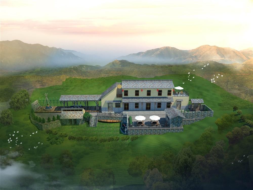 林州石板岩小院设计鸟瞰图