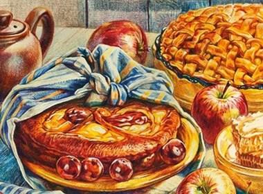 一组与吃货相关的手绘艺术