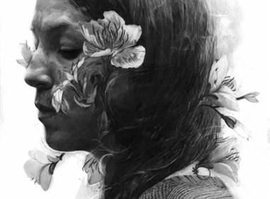 双重曝光效果突出的皮肤纹理的人物绘画