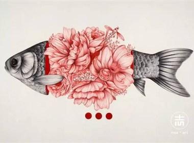 细腻柔和的花鸟虫鱼和美女插画