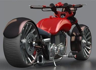 C4D摩托车