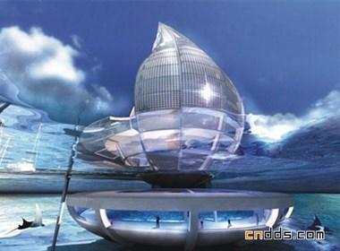 未来概念水滴状建筑