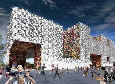 韩文构筑的抽象建筑