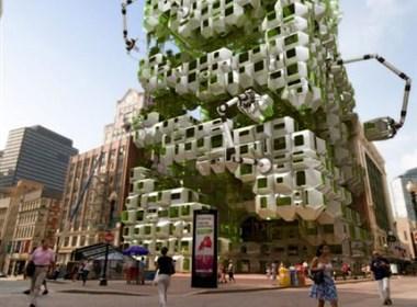 带有机械手臂的生态建筑
