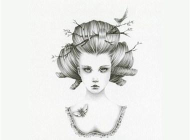 在梦幻世界中迷失的女孩时代性插画设计