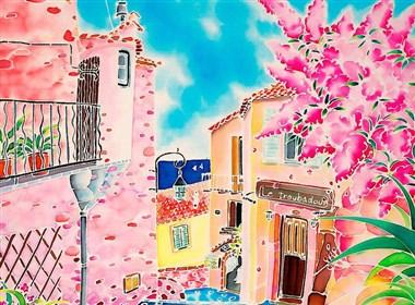 色彩明艳的写意景色绘画