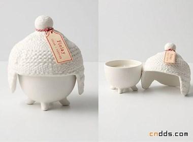 陶瓷毛线帽烛台设计
