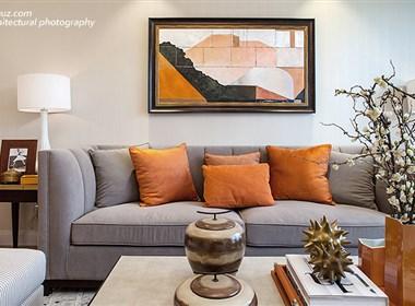 空与间建筑摄影:保利城样板间,经典爱马仕橘红