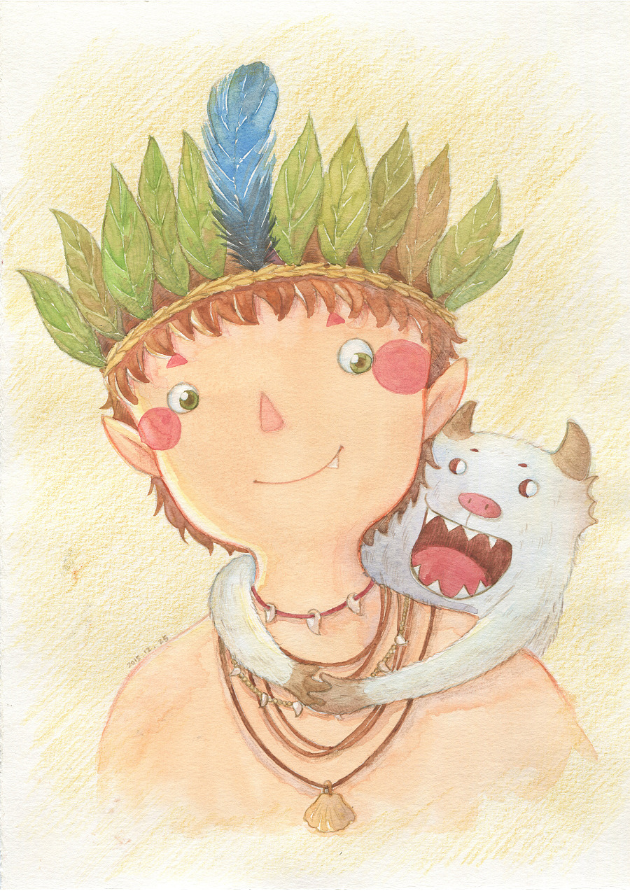 森林男孩水彩插画欣赏