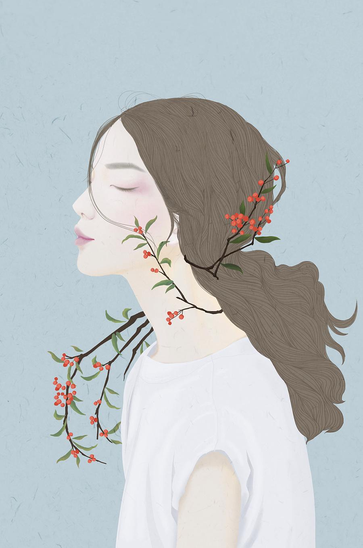 白色情人节少女插画欣赏