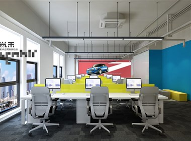 网络汽车服务公司办公室装修设计案例效果图