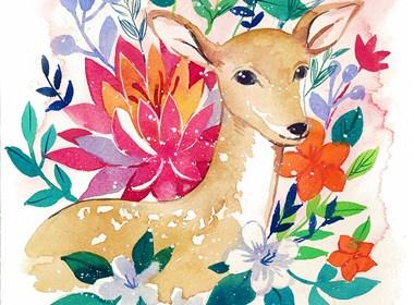 鹿与花—水彩插画欣赏