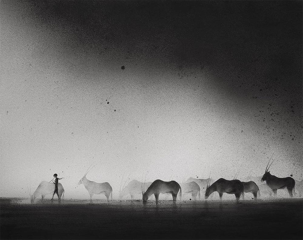 孩子和野兽黑白水彩绘画
