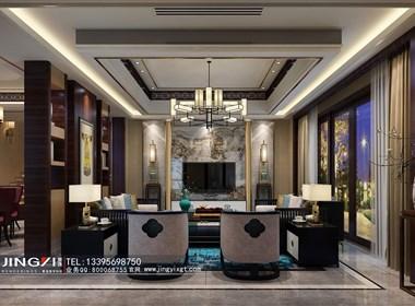 景逸效果图设计—家装移步换景的新中式客餐厅