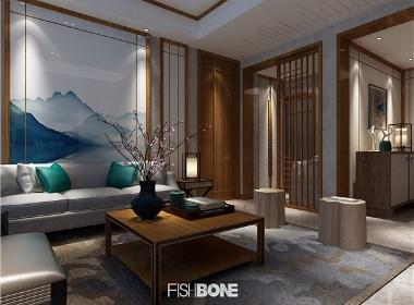 鱼骨设计-东南亚与中式风格混搭别墅