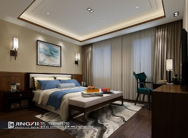 景逸效果图设计—家装移步换景的新中式-卧室