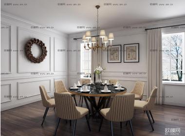 简欧餐厅空间模型