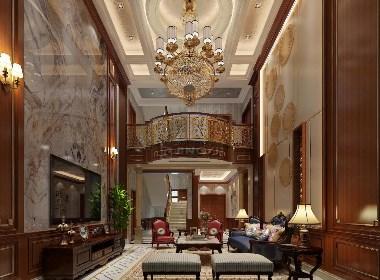景逸效果图设计—华丽的别墅挑空设计效果图
